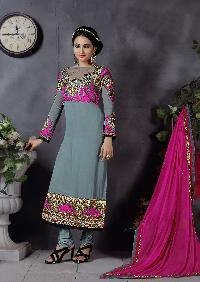 Ladies Flavour Grey Chanderi Embroidered Semi Stitiched Salwar Suit