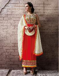 Ladies Flavour Red Chanderi Embroidered Semi Stitiched salwar Suit
