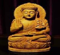 Wooden Lord Buddha Figurine