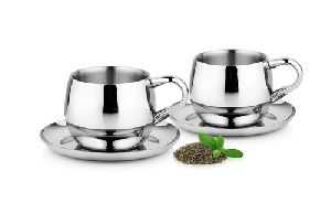 Stainless Steel Cups & Saucers