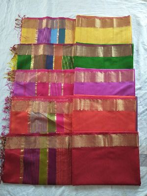 Maheshwari Zari Border With Multicolor Pallu Sarees