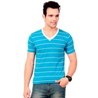 Mens Striped V-neck T-shirt