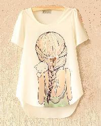 Ladies O Neck T-Shirts Printed