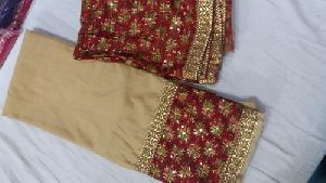 Ladies Unstitched Chanderi Phulkari Suit