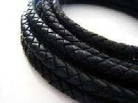 Black Braided Leather Cords