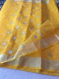 kota cotton sarees with zari checks(KCSZCS5)