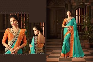 Designer Cut Embroidery Work Sarees