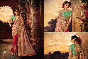 Double Colour Heavy Work Saree