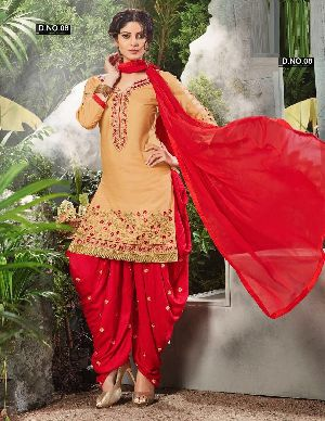 Embroidered Dhoti Style Cotton Salwar Kameez