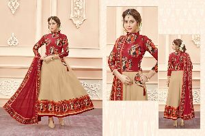Rayon Cotton Designer Anarkali Salwar Kameez