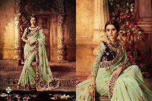 Satin Net Designer Work Saree