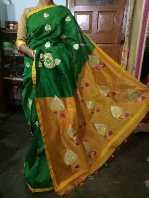 Applique Work Handloom Cotton Silk Sarees