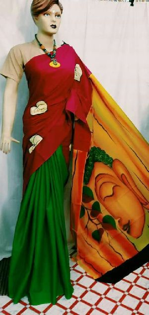 Hand Painted Malmal Sarees