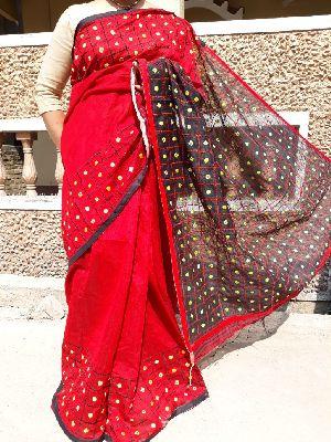 Mirror Work Handloom Cotton Silk Sarees