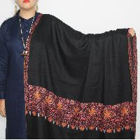 Black Golden-chinar Paldar Hand Embroidered Pashmina Shawl