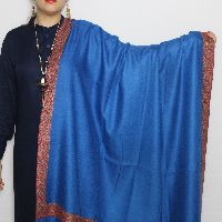 Blue Golden Border Sozni Pashmina Shawl