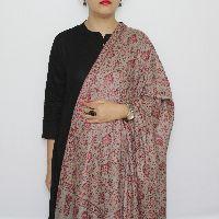 Grey-maroon Jaal Embroidered Pashmina Shawl