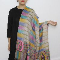Multicolored Zari-Kani Bordered Pashmina Shawl