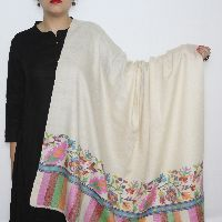 White-multicolored Kani Paldar Pashmina Shawl