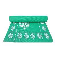 Floral Printed Design Dark Green Yoga Mat, Fitness