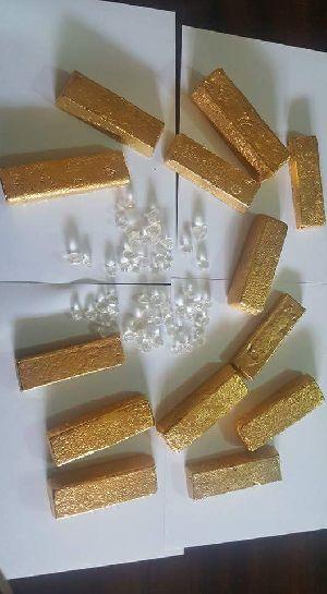 Au Gold Dore Bars/Nuggets/Rough Diamonds.