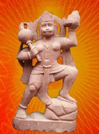 Red Stone God  Statue