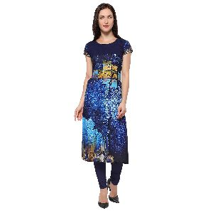 Ladies Crepe Digital Printed Kurtis