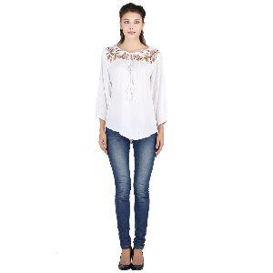 White Full Sleeves Top