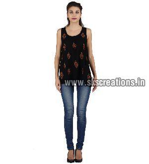 Black Rayon Sleeve Less Top