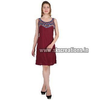 Mehroon short dress