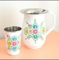 Steel Hand Painting Jug & Glass Set