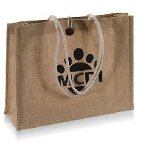Tie-Over Button Jute Shopping Bag