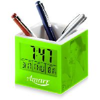 Square Transparent Pen Holder with Clock