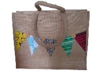 Jute Patchwork Tote Bag