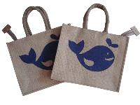 Jute Whale Patchwork Tote Bag