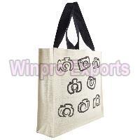Jute Camera Printed Carry Bag