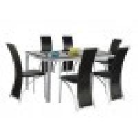 Black Glass Godrej Mod Knight Dining Table