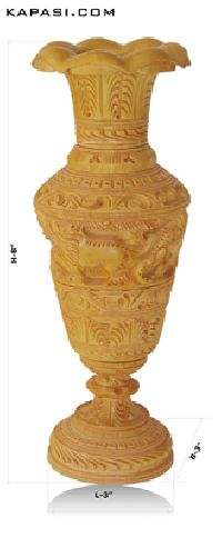 Beautifully Carved Wooden Flower Pot