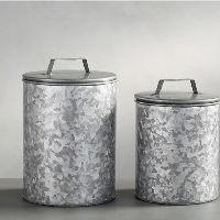 Galvanised Canisters Set Of 2