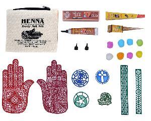 Golden Glitter & Brown Henna Body Art Kit