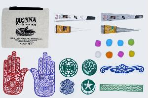 Silver Glitter & White Henna Body Art Kit