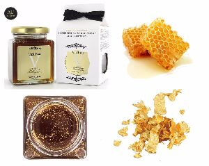 Premium Thyme Honey With Edible Gold 24k In Mason Jar 250g