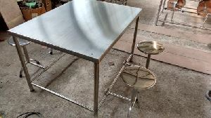 4-seater Stainless Steel Canteen Dining Table Set