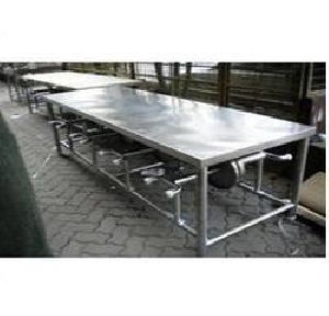 6-seater Stainless Steel Canteen Dining Table Set