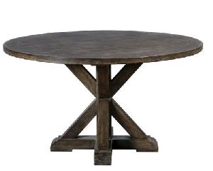 Cross Base Round Wooden Table