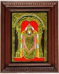 Balaji Tanjore Painting - 8 In X 10 In - Decorative Frame