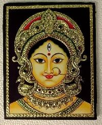 Devi Durga - Bengal Style Tanjore Painting - 10 In x 12 In