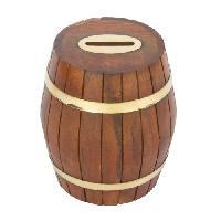 Wooden Barrel Money Box