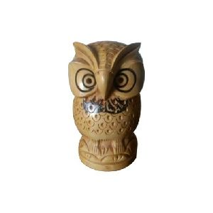 Carved Wooden Owl Statue