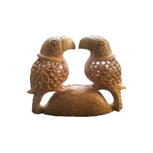 Carved Wooden Parrot Statue
